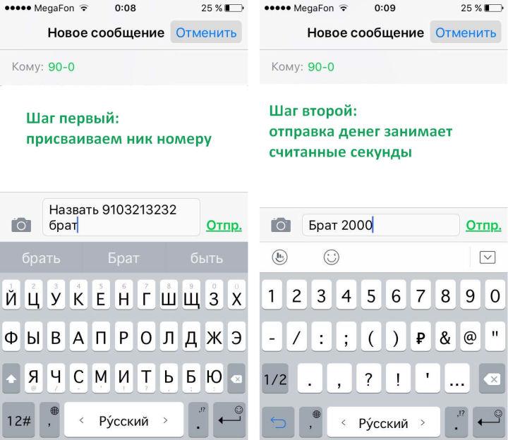 Сделать шаблон сообщения для перевода денег СМСкой очень легко