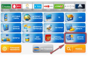 В меню терминала Киви выбираем раздел Другие услуги