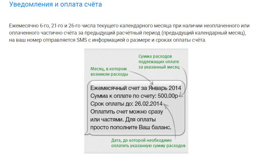 В смс-уведомлении об оплате счета приходит информация о крайнем сроке оплаты и сумме