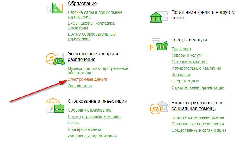 Для того, чтобы перевести деньги через интернет-банкинг потребуется зайти в раздел Электронные товары и развлечения