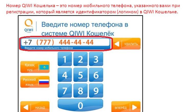 Для пополнения счета электронного кошелька через терминал потребуется ввести его номер, который соответствует номеру мобильного телефона